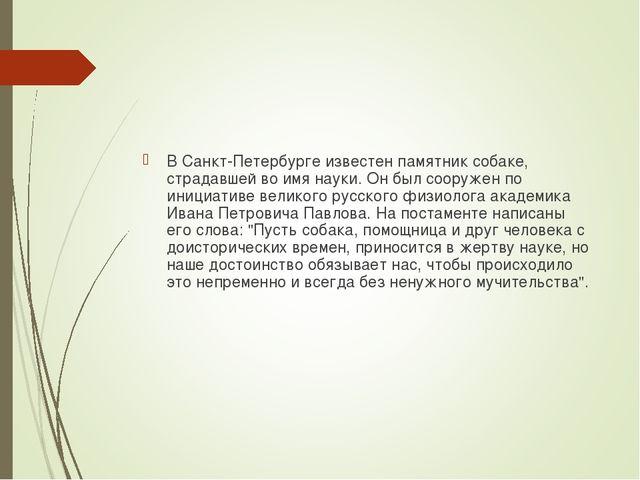 В Санкт-Петербурге известен памятник собаке, страдавшей во имя науки. Он был...