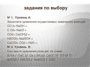 задания по выбору № 1. Уровень А. Закончите уравнения осуществимых химически