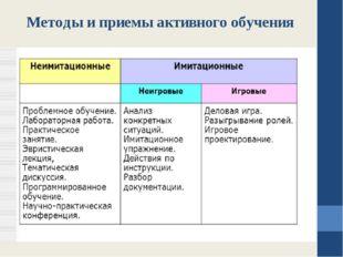 Методы и приемы активного обучения