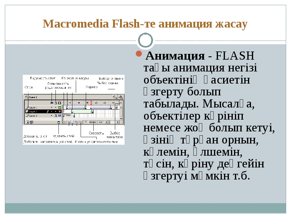 Macromedia Flash-те анимация жасау Анимация - FLASH тағы анимация негізі объе...