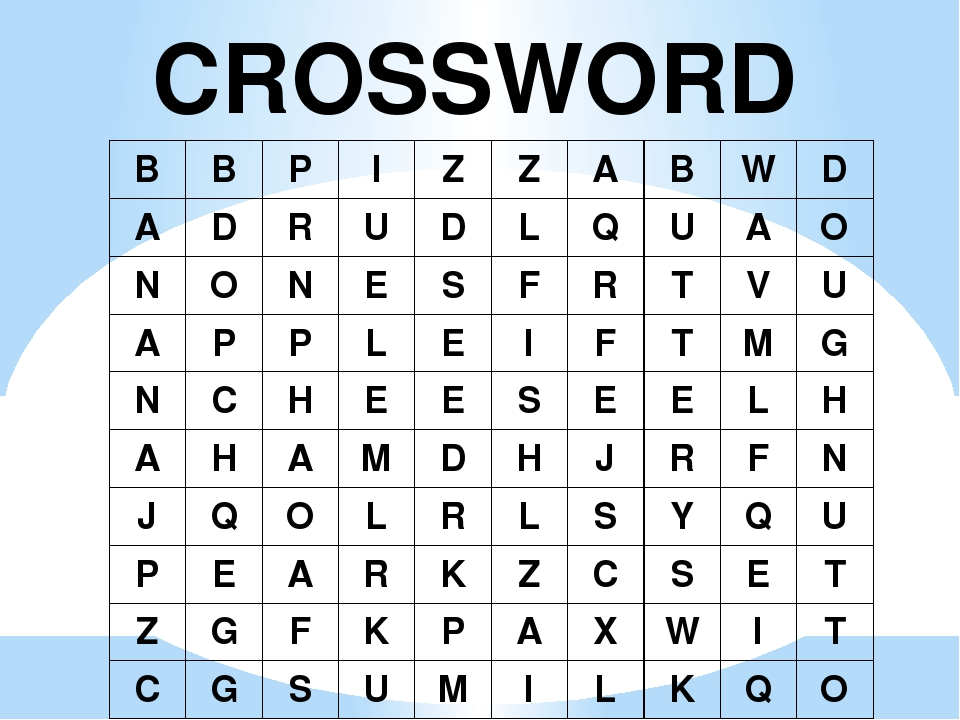 CROSSWORD B B P I Z Z A B W D A D R U D L Q U A O N O N E S F R T V U A P P L...