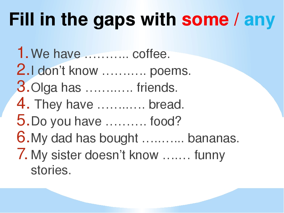 Fill in the gaps with some / any We have ……….. coffee. I don't know …….…. poe...