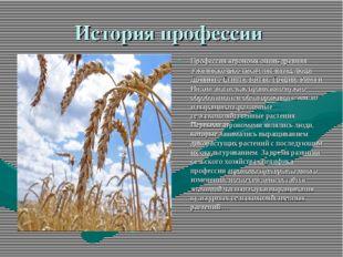 История профессии Профессия агронома очень древняя. Уже несколько тысяч лет н