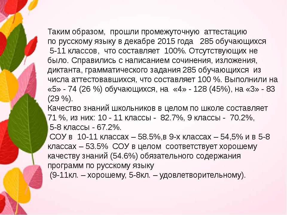 Таким образом, прошли промежуточную аттестацию по русскому языку в декабре...