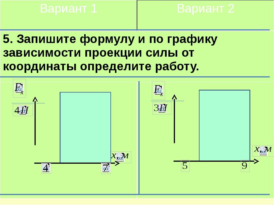 Вариант 1 Вариант 2 5. Запишите формулу и по графику зависимостипроекции сил...