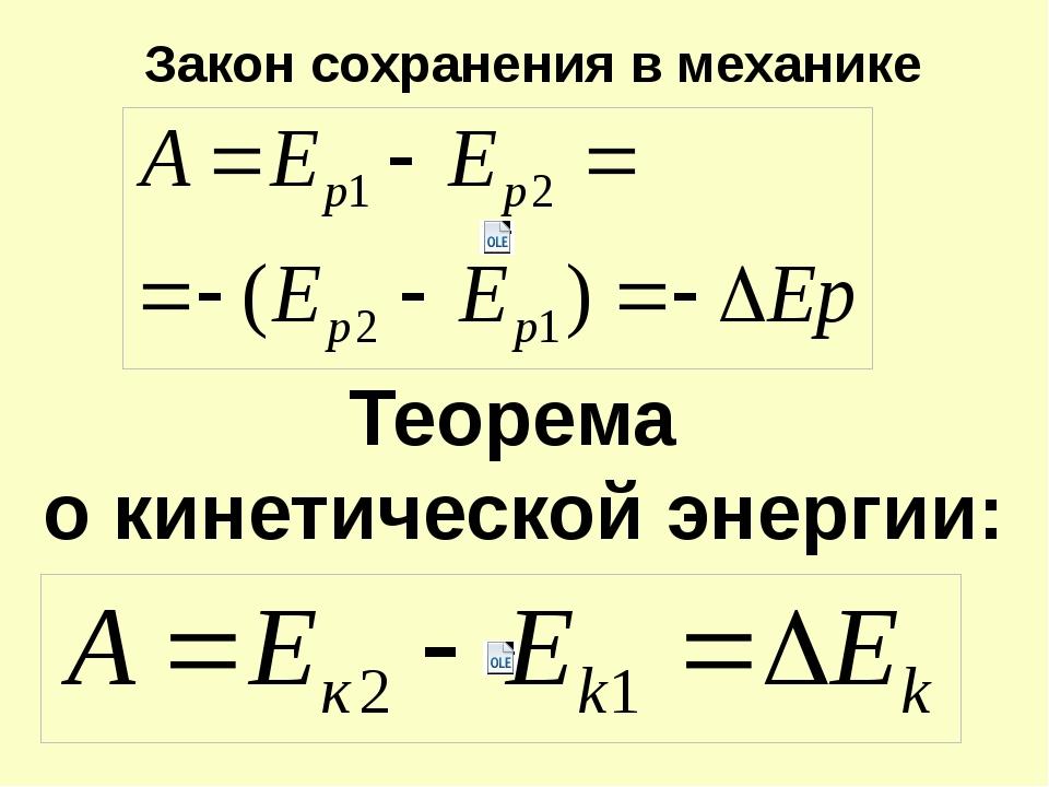 Закон сохранения в механике Теорема о кинетической энергии: