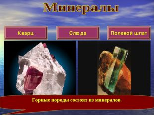 Кварц Слюда Полевой шпат Горные породы состоят из минералов.