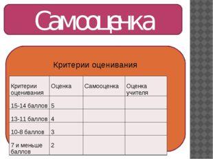 Самооценка Критерии оценивания Критерииоценивания Оценка Самооценка Оценкаучи