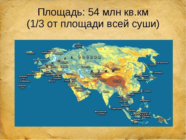 Площадь: 54 млн кв.км (1/3 от площади всей суши)