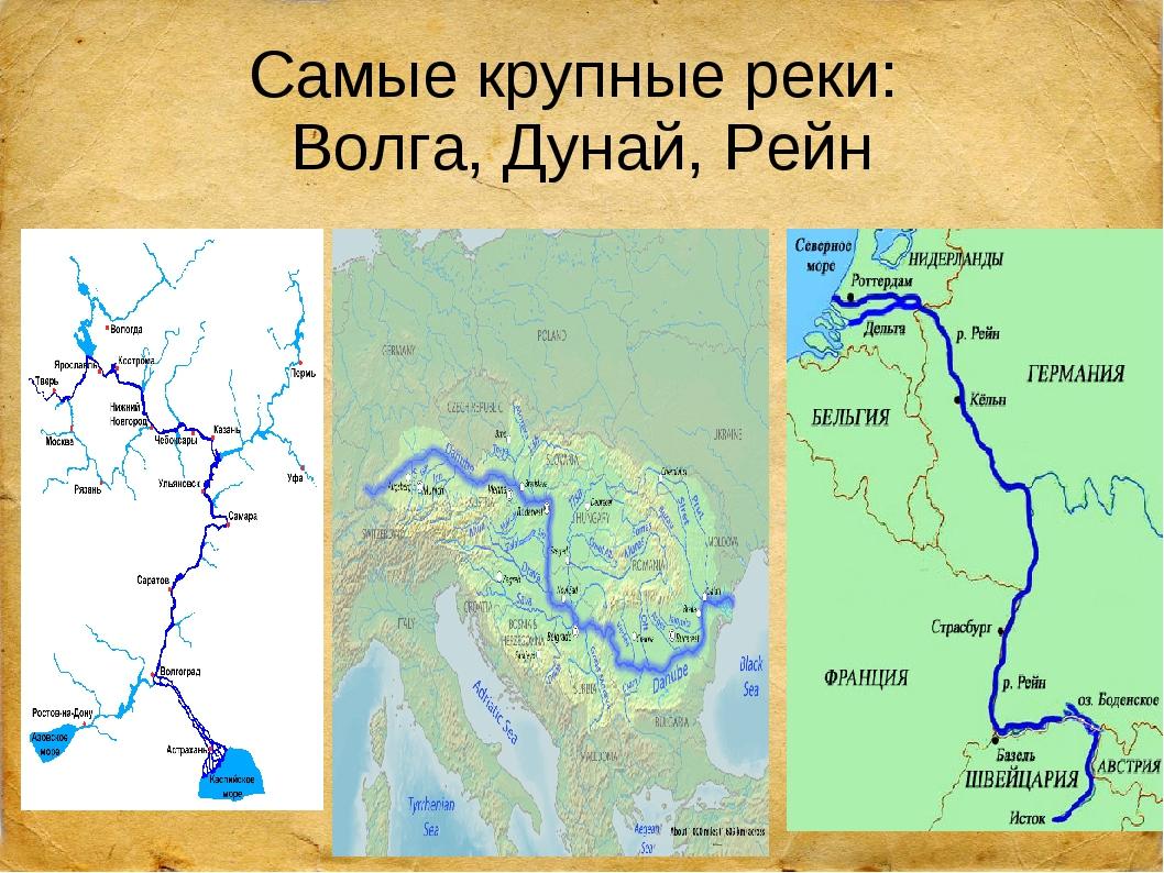 Самые крупные реки: Волга, Дунай, Рейн