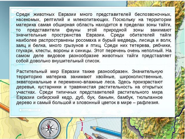 Среди животных Евразии много представителей беспозвоночных, насекомых, рептил...
