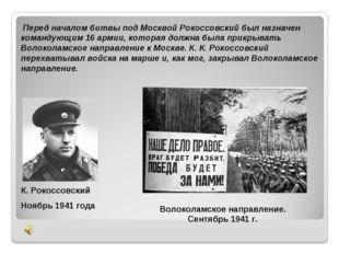 Перед началом битвы под Москвой Рокоссовский был назначен командующим 16 арм