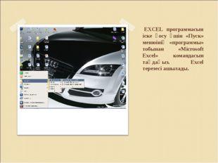 EXCEL программасын іске қосу үшін «Пуск» менюінің «программы» тобынан «Micro