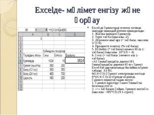 Excelде- мәлімет енгізу және қорғау Excel-де өрнектерді есептеу кезінде амал