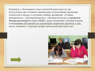 Формируя у обучающихся опыт проектной деятельности, мы использовали два основ