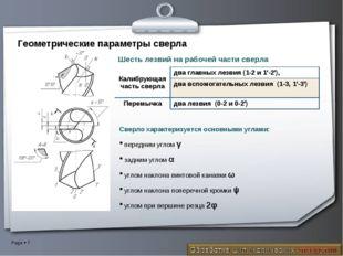 Геометрические параметры сверла Сверло характеризуется основными углами: пере