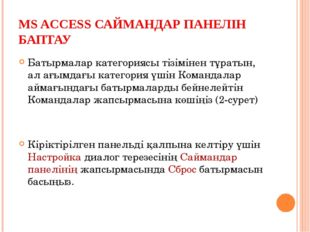 MS ACCESS САЙМАНДАР ПАНЕЛІН БАПТАУ Батырмалар категориясы тізімінен тұратын,