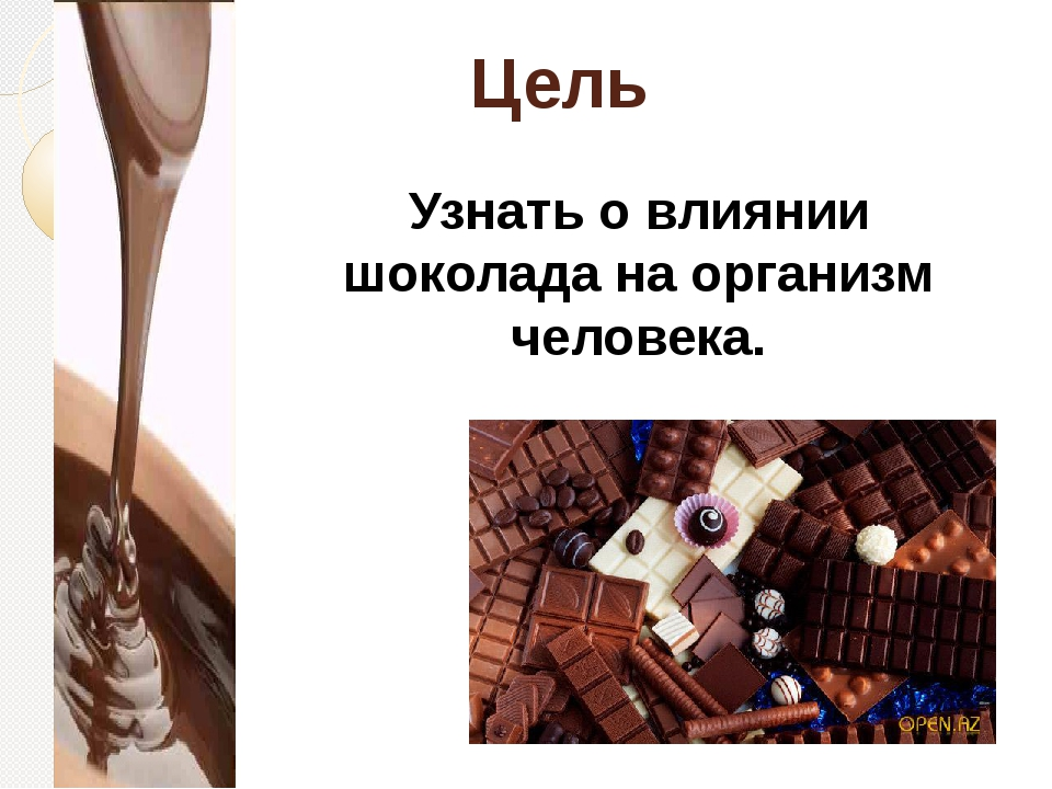 Цель Узнать о влиянии шоколада на организм человека.