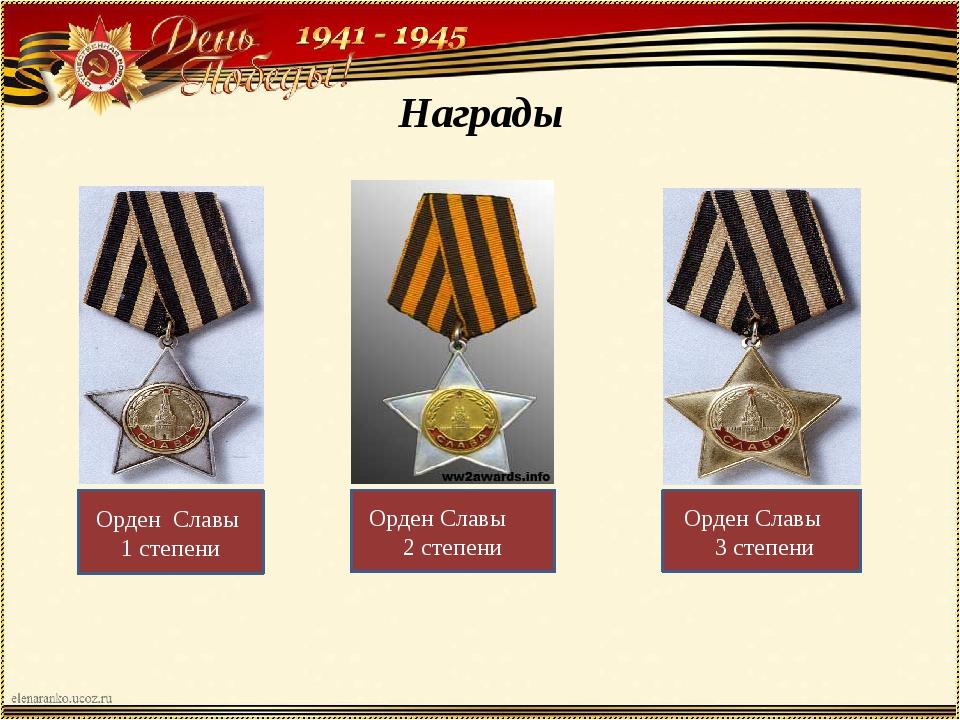 Награды Орден Славы 1 степени Орден Славы 2 степени Орден Славы 3 степени