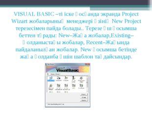 VISUAL BASIC –ті іске қосқанда экранда Project Wizart жобаларының менеджері ө