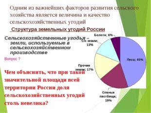 Одним из важнейших факторов развития сельского хозяйства является величина и