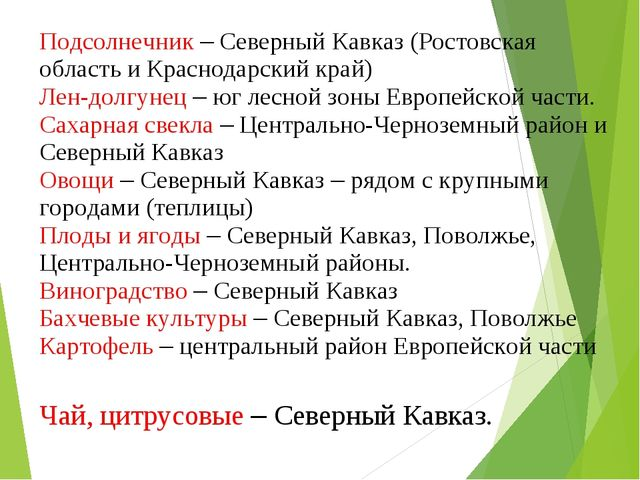 Чай, цитрусовые – Северный Кавказ. Подсолнечник – Северный Кавказ (Ростовская...