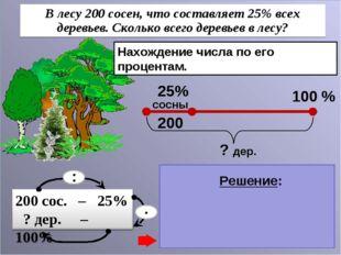 Нахождение числа по его процентам. 1) 200 : 25 = 8 (дер.) – 1% дер. 2) 8 . 10
