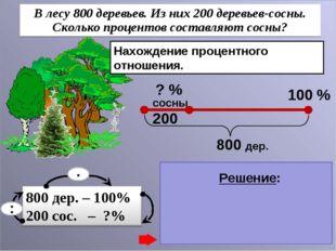 Нахождение процентного отношения. 200 : 800 = 0,25 0,25 . 100 = 25 (%) – сосн