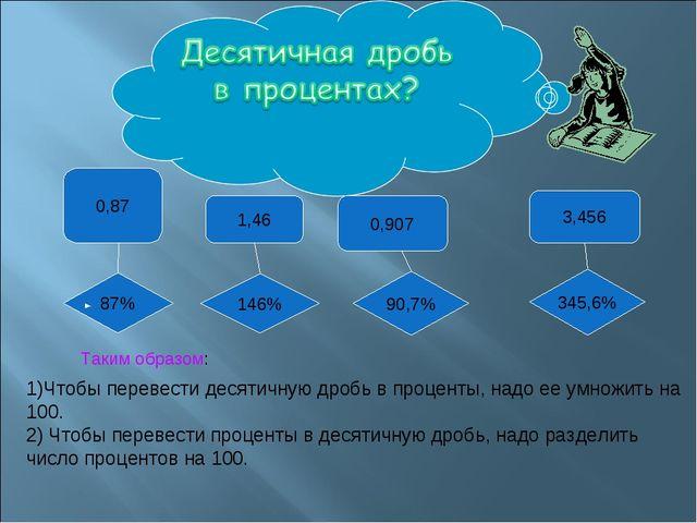 0,87 1,46 0,907 3,456 87% 146% 90,7% 345,6% Таким образом: 1)Чтобы перевести...