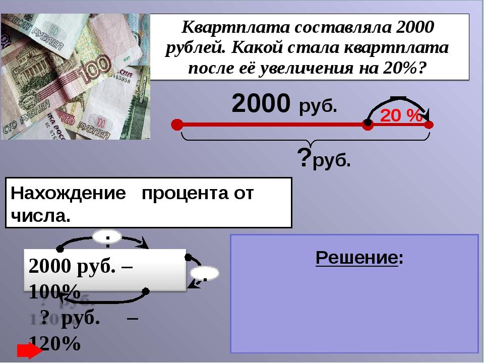 Квартплата составляла 2000 рублей. Какой стала квартплата после её увеличения...