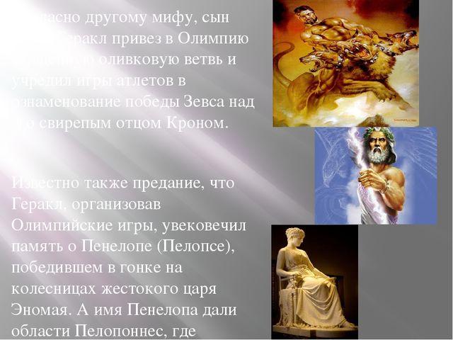 Согласно другому мифу, сын Зевса Геракл привез в Олимпию священную оливковую...