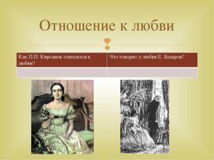 Отношение к любви Как П.П. Кирсанов относится клюбви? Чтоговорит о любви Е. Б