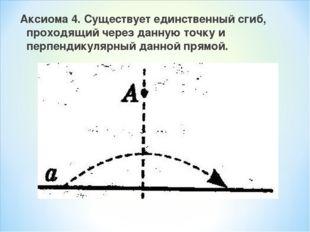 Аксиома 4. Существует единственный сгиб, проходящий через данную точку и перп