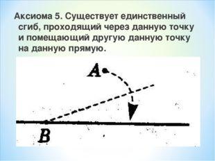 Аксиома 5. Существует единственный сгиб, проходящий через данную точку и поме