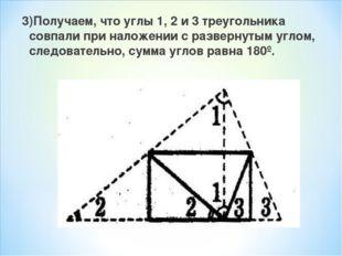 3)Получаем, что углы 1, 2 и 3 треугольника совпали при наложении с развернуты