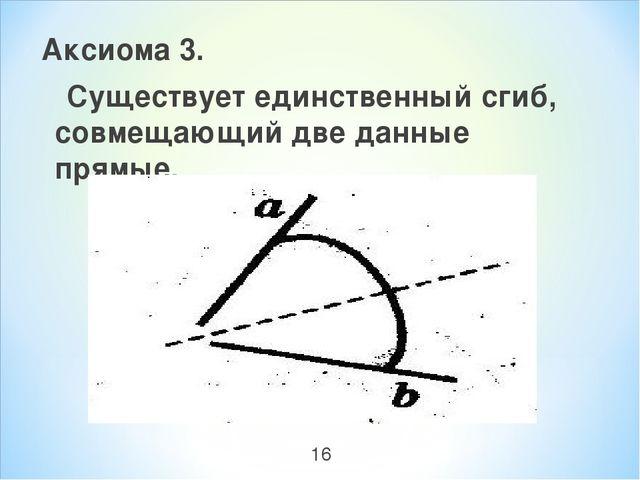 Аксиома 3. Существует единственный сгиб, совмещающий две данные прямые. 16