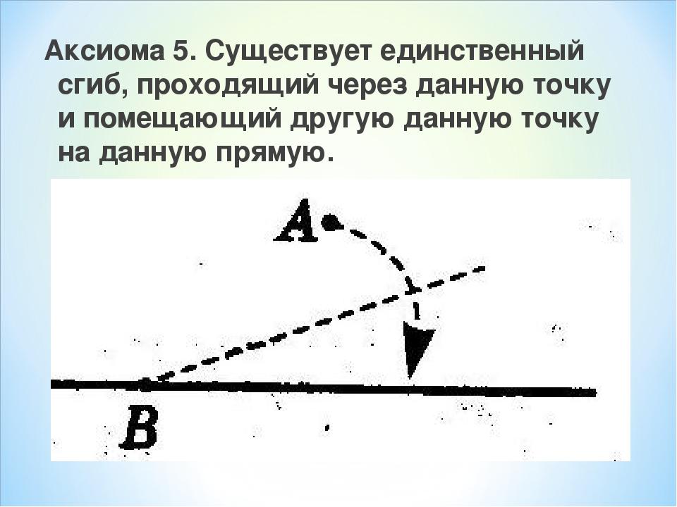Аксиома 5. Существует единственный сгиб, проходящий через данную точку и поме...