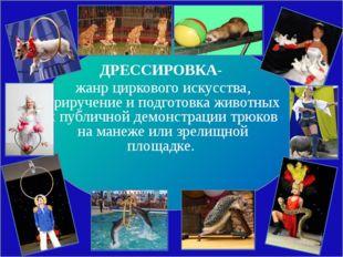 ДРЕССИРОВКА- жанр циркового искусства, приручение и подготовка животных к пу
