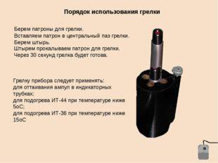 Порядок использования грелки Берем патроны для грелки. Вставляем патрон в цен
