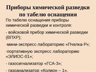 Приборы химической разведки по табелю оснащения По табелю оснащения приборы х