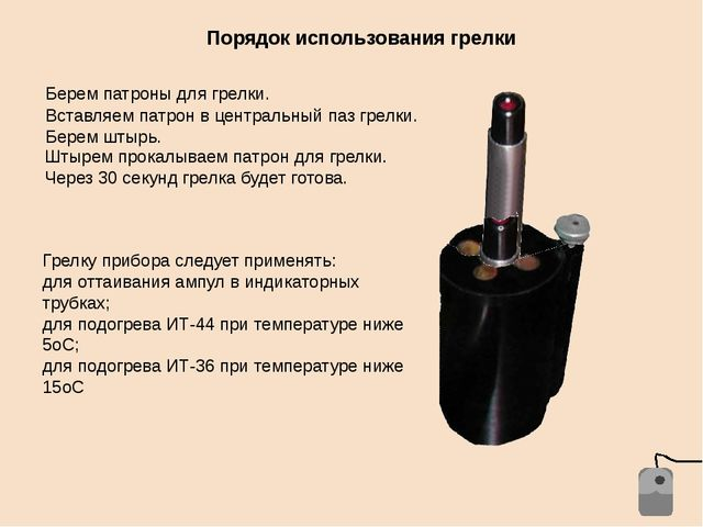 Порядок использования грелки Берем патроны для грелки. Вставляем патрон в цен...
