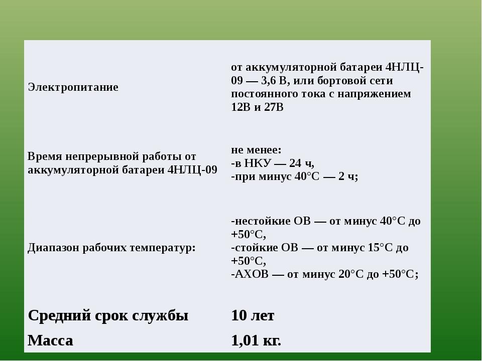 Электропитание от аккумуляторной батареи 4НЛЦ-09— 3,6 В, или бортовой сети п...