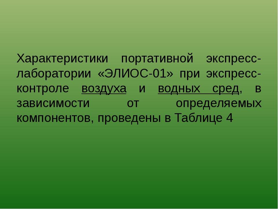Характеристики портативной экспресс-лаборатории «ЭЛИОС-01» при экспресс-контр...