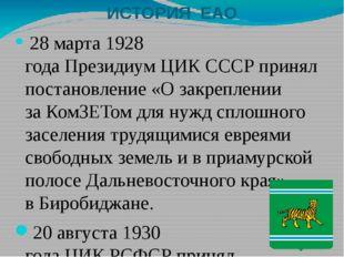 ИСТОРИЯ ЕАО 28 марта1928 годаПрезидиумЦИК СССРпринял постановление «О за