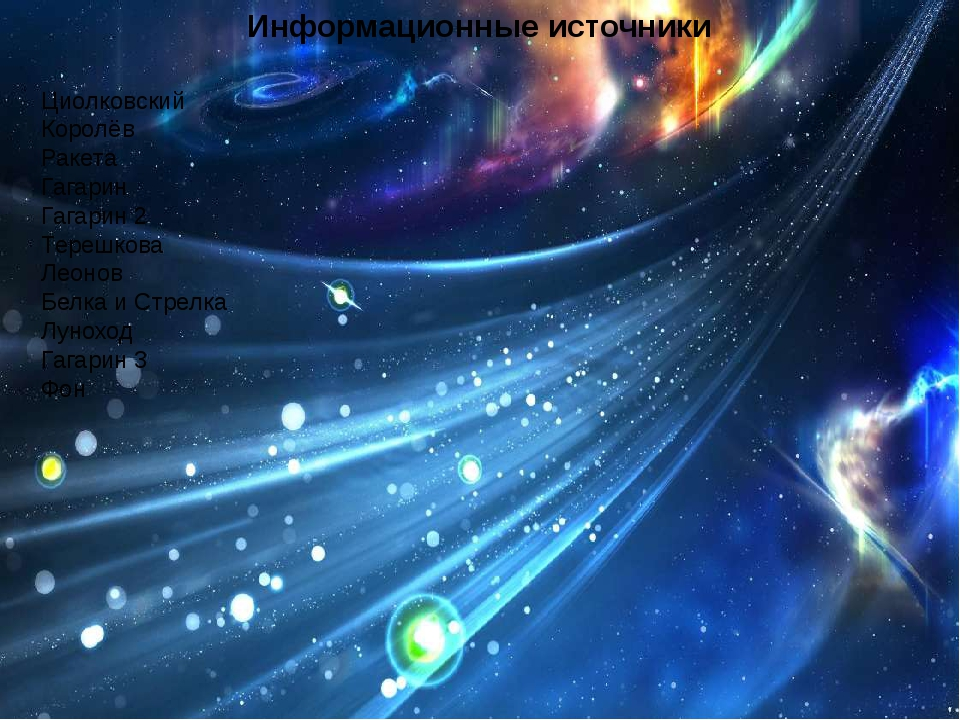 Информационные источники Циолковский Королёв Ракета Гагарин Гагарин 2 Терешко...
