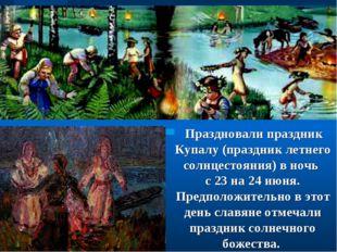Праздновали праздник Купалу (праздник летнего солнцестояния) в ночь с 23 на
