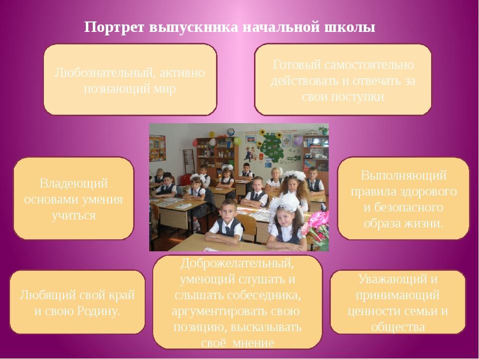 Портрет выпускника начальной школы Любознательный, активно познающий мир Влад...