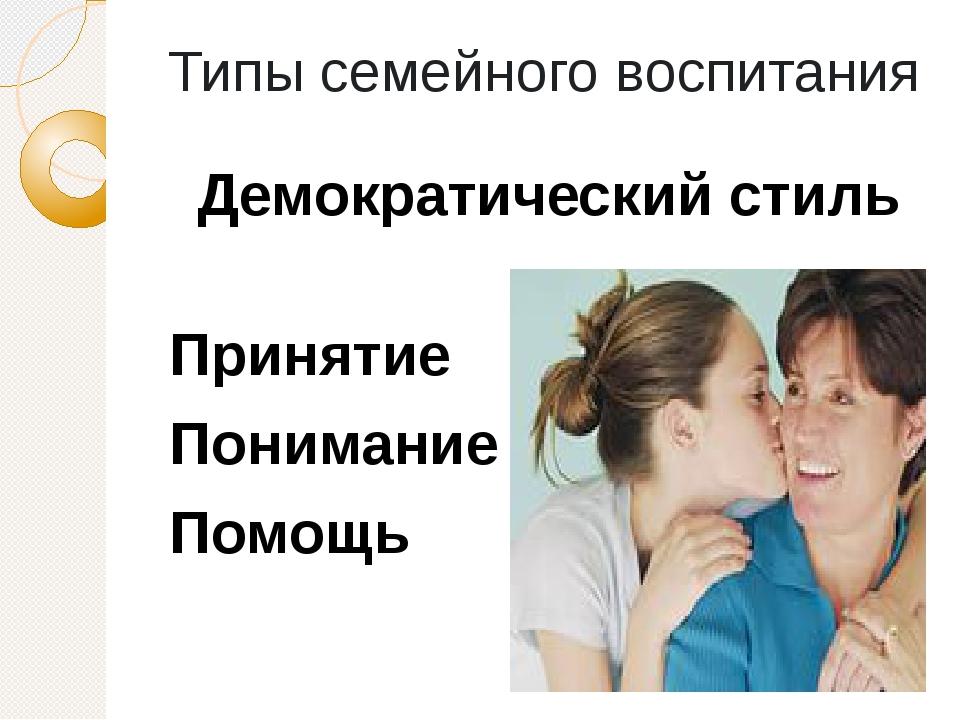 Типы семейного воспитания Демократический стиль Принятие Понимание Помощь Наи...