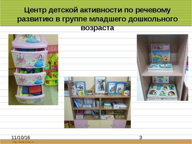Центр детской активности по речевому развитию в группе младшего дошкольного...
