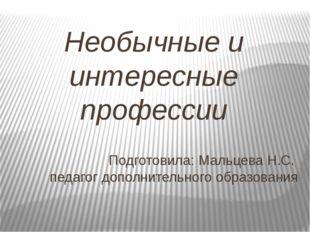 Необычные и интересные профессии Подготовила: Мальцева Н.С. педагог дополните